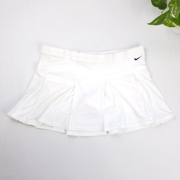 NIKE Pleated Mini Tennis Skort Skirt White Medium